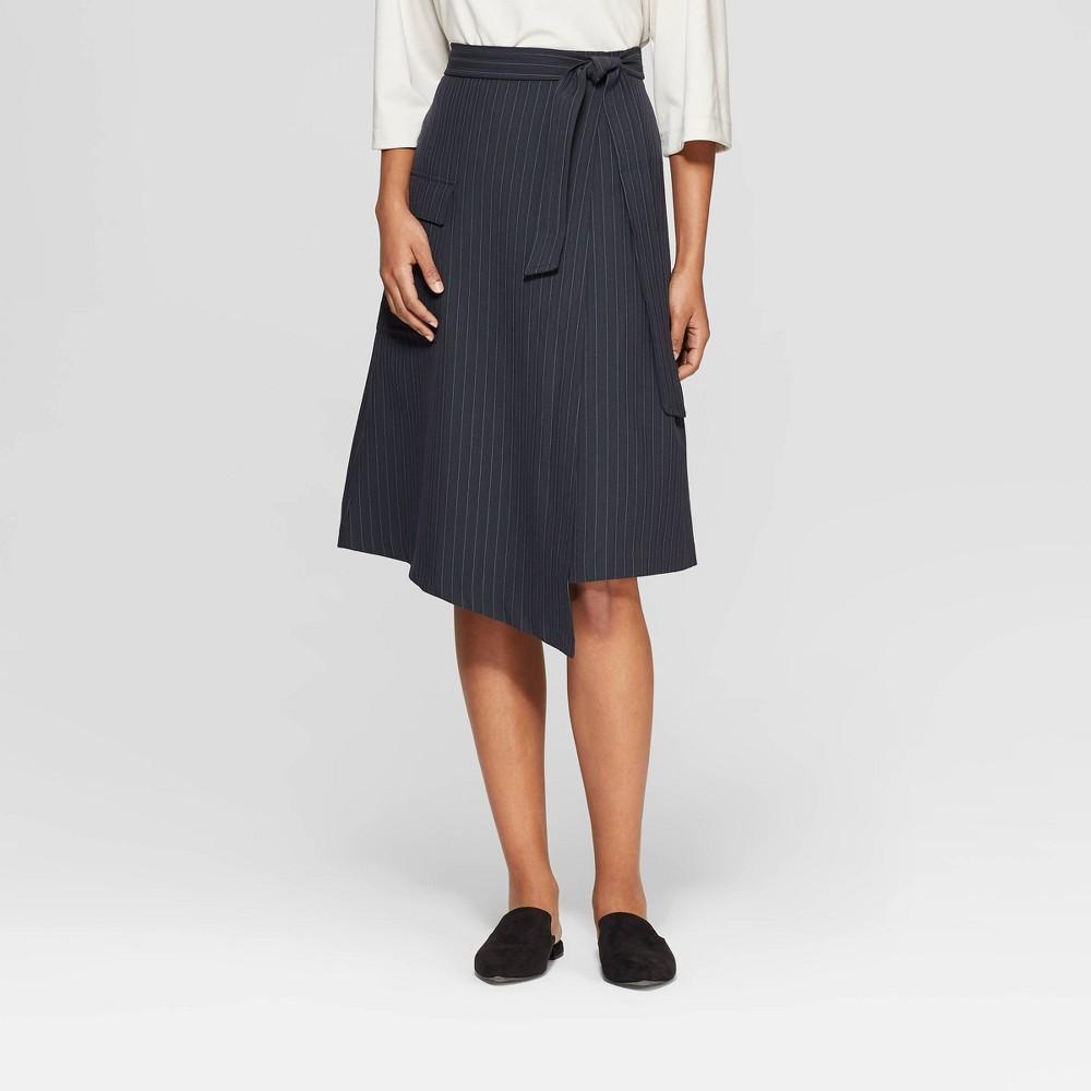 Women's Striped Mid-Rise A-Line Wrap Skirt - Prologue Navy (Blue) 12