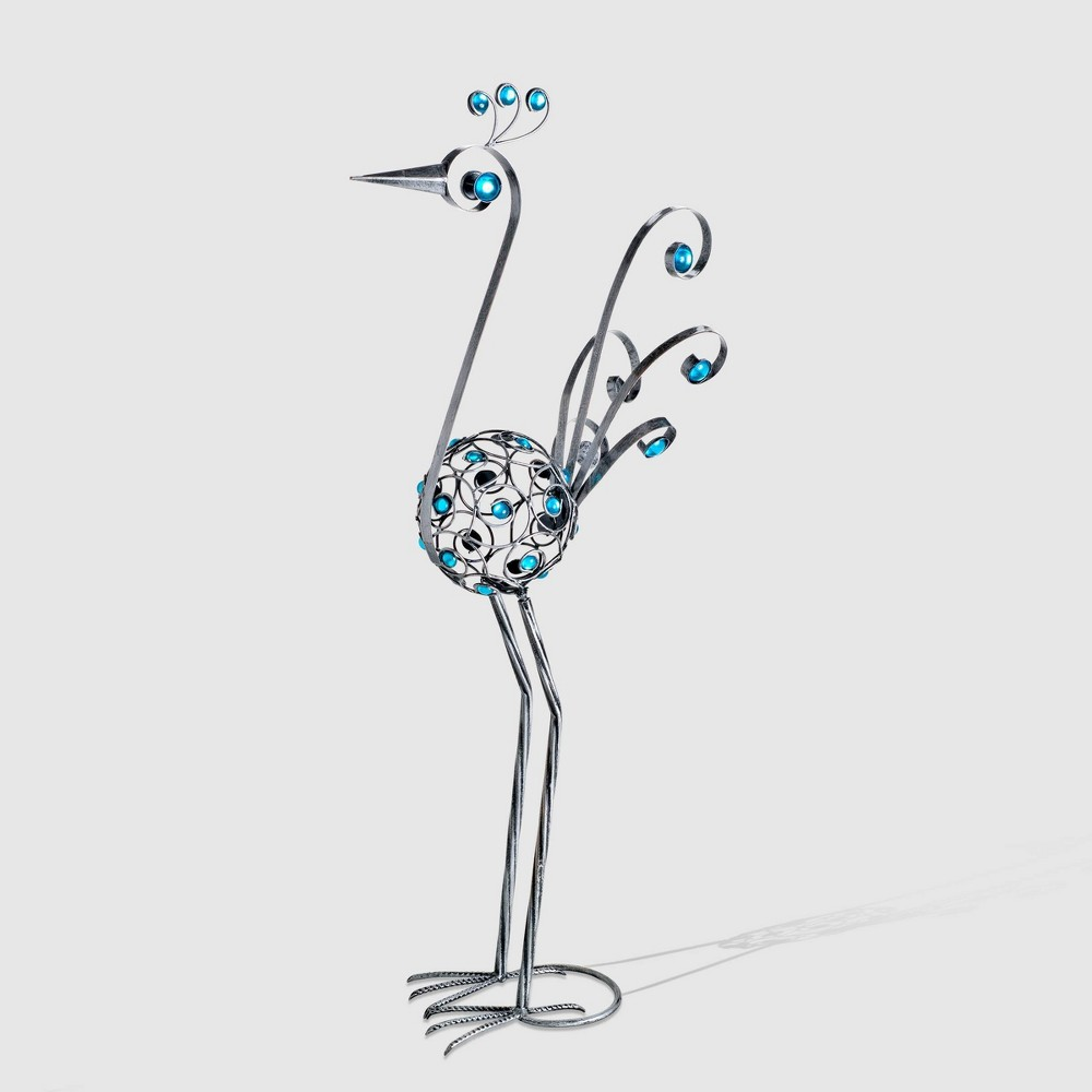 """Image of """"48"""""""" Resin Filigree Bird Statue With Blue Beads Pewter - Exhart, Silver"""""""