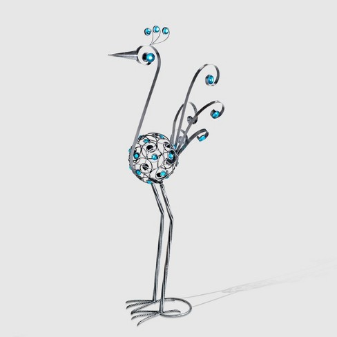 """48"""" Resin Filigree Bird Statue With Blue Beads Pewter - Exhart - image 1 of 1"""