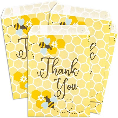 Sparkle and Bash 100-Pack Bee Party Favor Paper, Small Gift Bags, Paper Treat Bags for Baby Shower (Yellow, 5x7 in)
