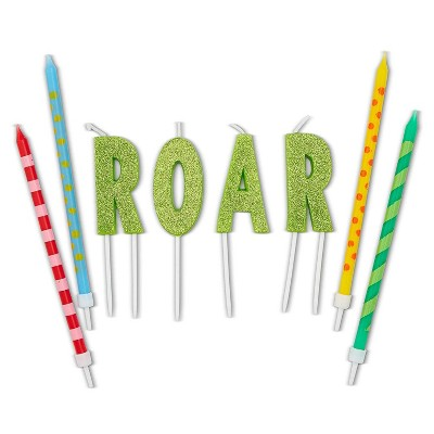 "Blue Panda 28-Piece Green Dinosaur ""ROAR"" Cake Topper Letters & Birthday Cake Candles 5"" for Party Decorations"