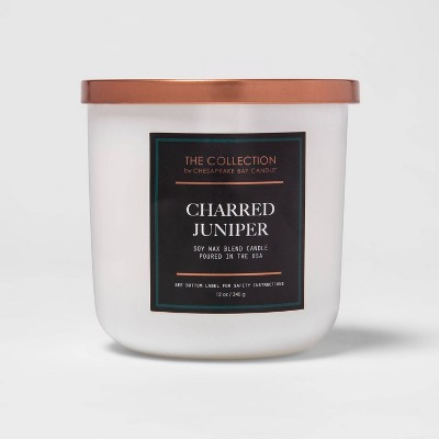 12oz Lidded Core Glass Jar 2-Wick Charred Juniper Candle - The Collection By Chesapeake Bay Candle