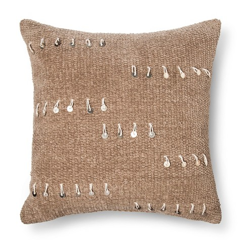 "Tan Woven with Sequin Square Throw Pillow (18""x18"") - Threshold™ - image 1 of 1"