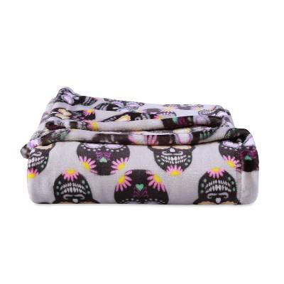 "50""x60"" Tulum Sugar Skulls Printed Halloween Throw Blanket Gray - Better Living"