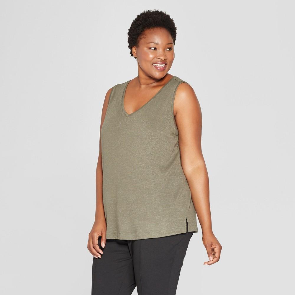 Women's Plus Size V-Neck Tank - Ava & Viv Olive (Green) X