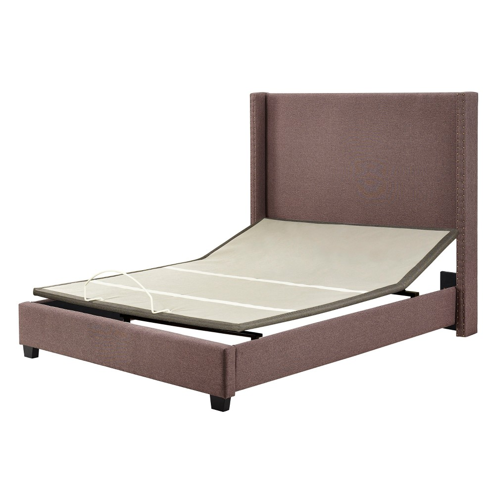 King Casey Upholstered Bedset Taupe Brown - Crosley, Bourbon