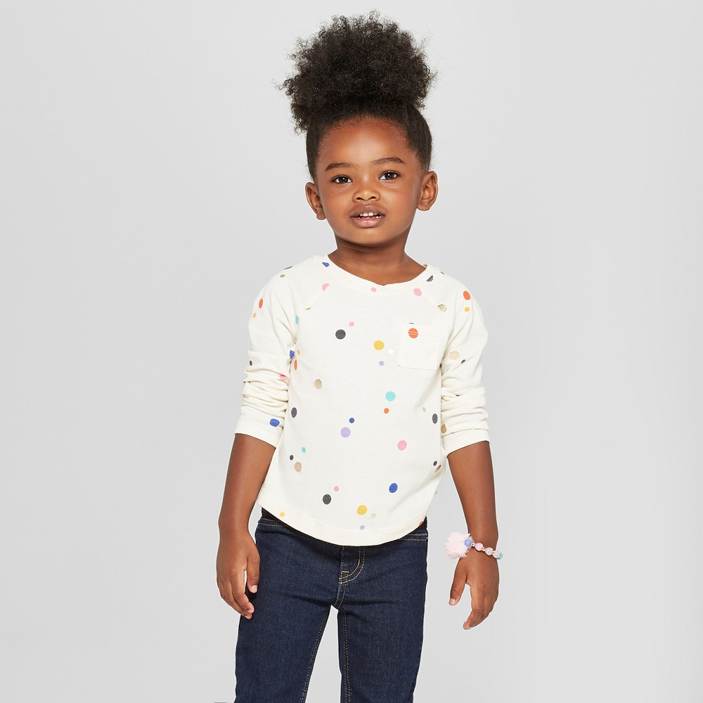 Toddler Girls' Polka Dot Long Sleeve Shirt - Cat & Jack Calla Lily 5T, White