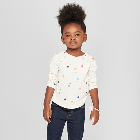b0fbaa56f30 Toddler Girls  Polka Dot Long Sleeve Shirt - Cat   Jack™ Cream   Target