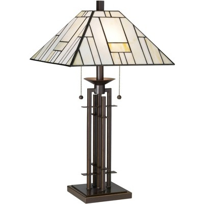 Franklin Iron Works Wrought Iron Tiffany-Style Table Lamp with Table Top Dimmer