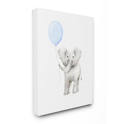 24 x1.5 x30  Baby Elephant with Blue Balloon Watercolor Oversized Stretched Canvas Wall Art - Stupell Industries
