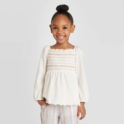 Toddler Girls' Long Sleeve Smocked T-Shirt - art class™ Cream - image 1 of 3