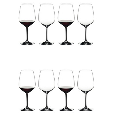 Riedel 6409/0 Heart to Heart Crystal Dishwasher Safe Cabernet Sauvignon Red Wine Glass (8 Pack)