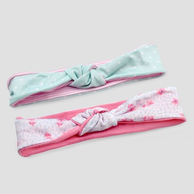 Baby Girls' 2pk Color Block Jersey Headwraps - Just One You® made by carter's Mint/White One Size