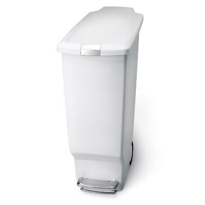 simplehuman 40L Slim Plastic Step Trash Can White