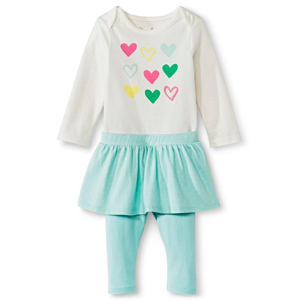 Cherokee Baby Girls' 2pc Set - Cream/Green 24 M, Size: 24M, Almond Cream
