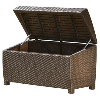 Wicker Patio Storage Chest - Brown - Christopher Knight Home
