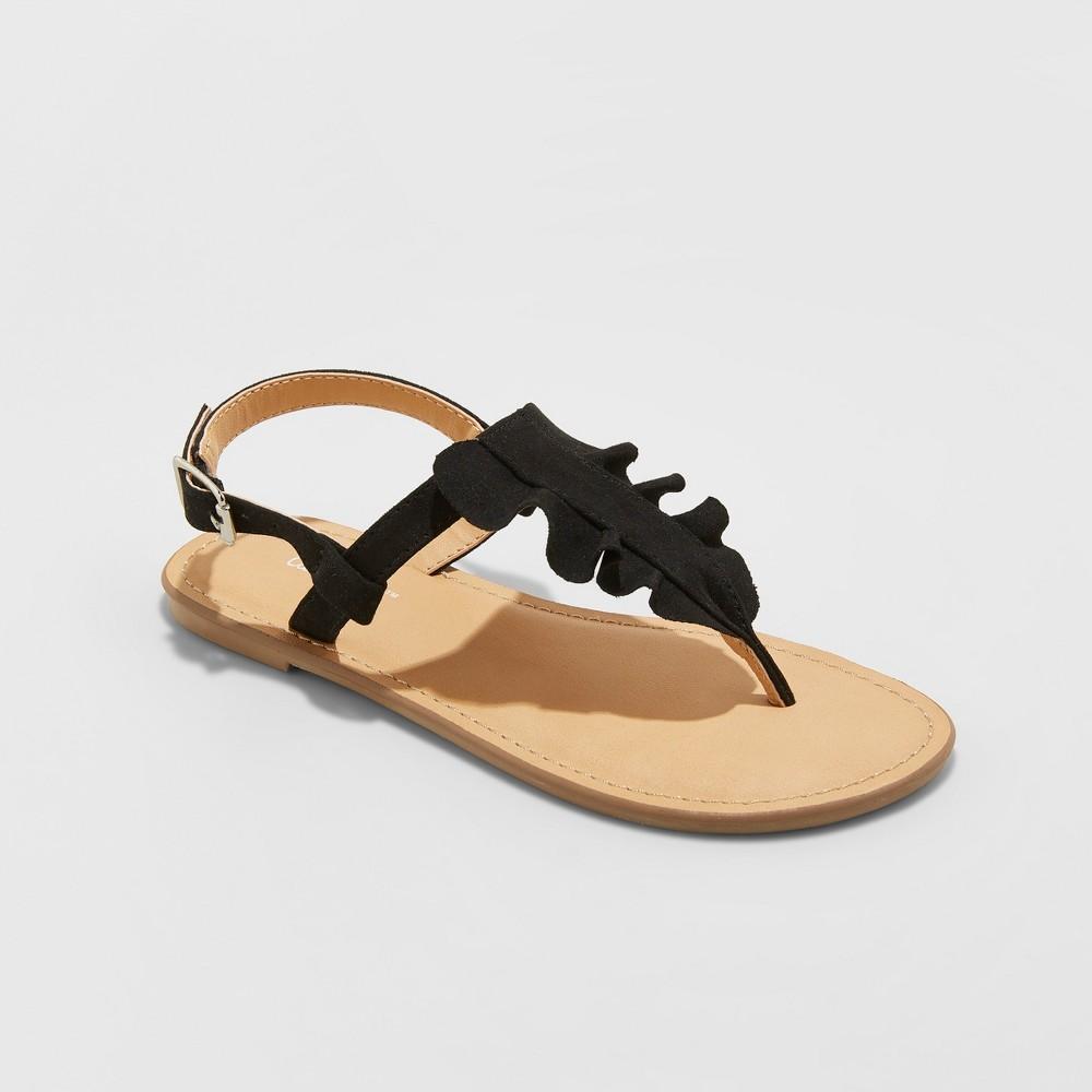 Image of Girls' Naomi Ruffle Thong Sandals - Cat & Jack Black 13, Girl's
