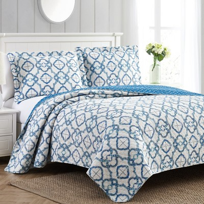 Modern Threads 2 Or 3 Piece 100% Cotton Enzyme Washed Quilt Set Mosaic Lattice.