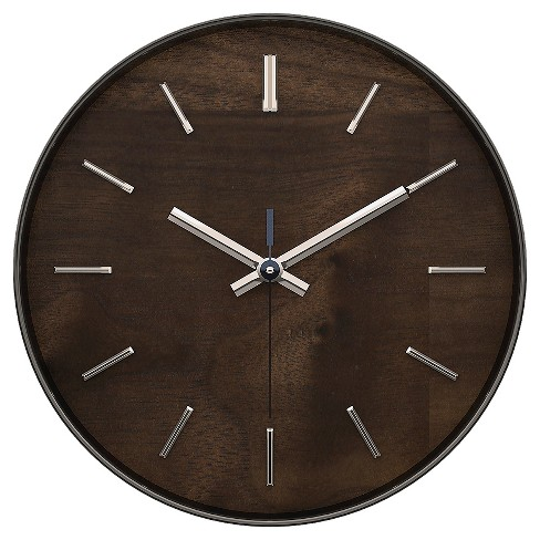 "Hastings 12"" Wall Clock Brown Maple Finish - TimeKeeper® - image 1 of 2"