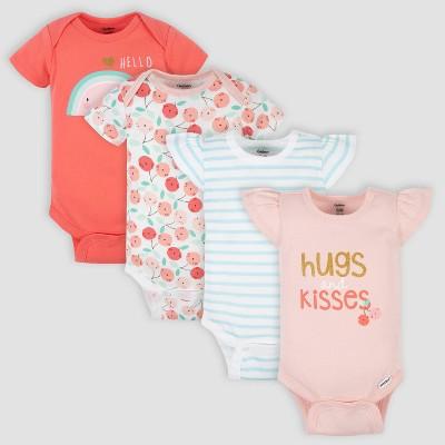 Gerber Baby Girls' 4pk Hug Short Sleeve Onesies - Pink 3-6M