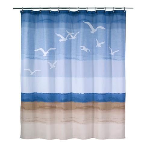 Seagulls Shower Curtain White Blue