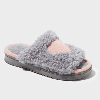 Women's dluxe by dearfoams® Rebecca Fuzzy Slide Slippers - Gray S