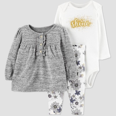 Baby Girls' 3pc Shine Bodysuit,Tunic Top & Bottom Set - Just One You® made by carter's Gray/Cream 3M
