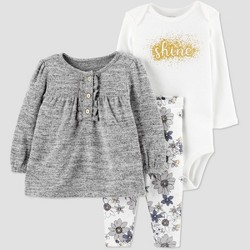 Baby Girls' 3pc Shine Bodysuit, Tunic Top & Bottom Set - Just One You® made by carter's Gray/Cream
