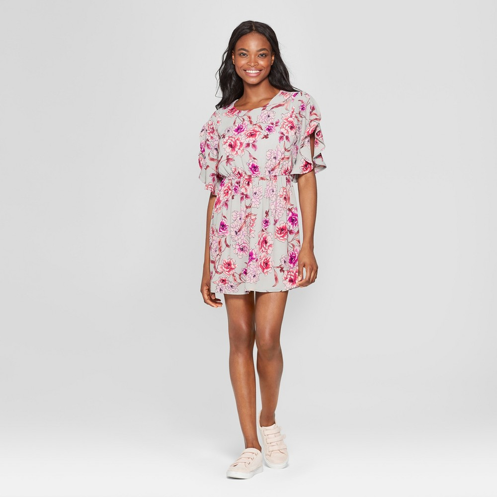Women's Floral Print Flutter Sleeve Dress - Lily Star (Juniors') Gray S was $29.98 now $8.99 (70.0% off)