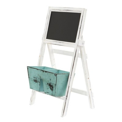 """26"""" x 13.5"""" Wooden Farmhouse Planter Bin and Chalkboard Stand White/Blue - Nearly Natural"""