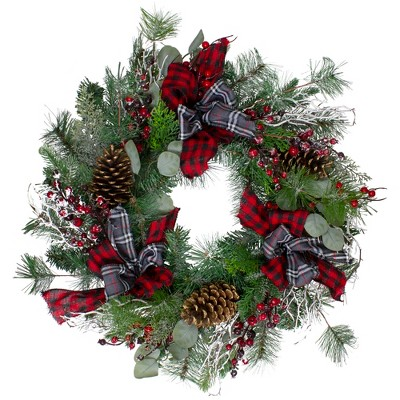 Northlight Dual Plaid and Berries Artificial Christmas Wreath - 24-Inch, Unlit