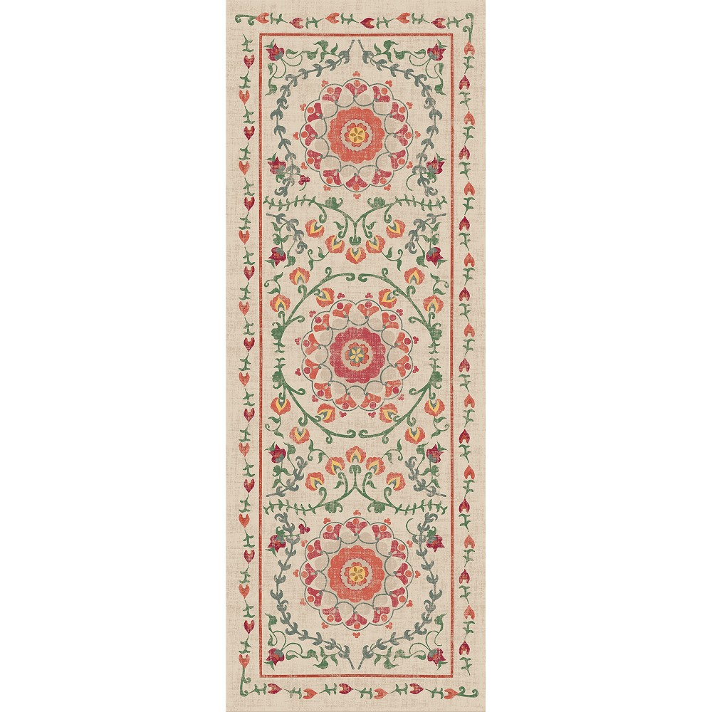 Coral Floral Woven Runner 2'6X7' - Ruggable, Pink