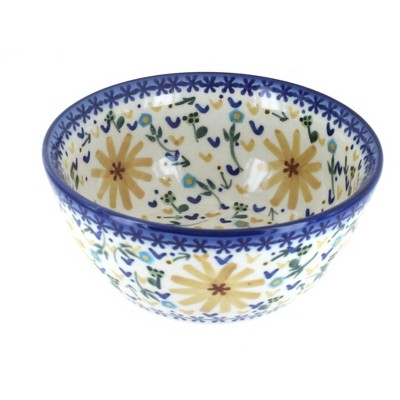 Blue Rose Polish Pottery Yellow Daisy Cereal/Soup Bowl