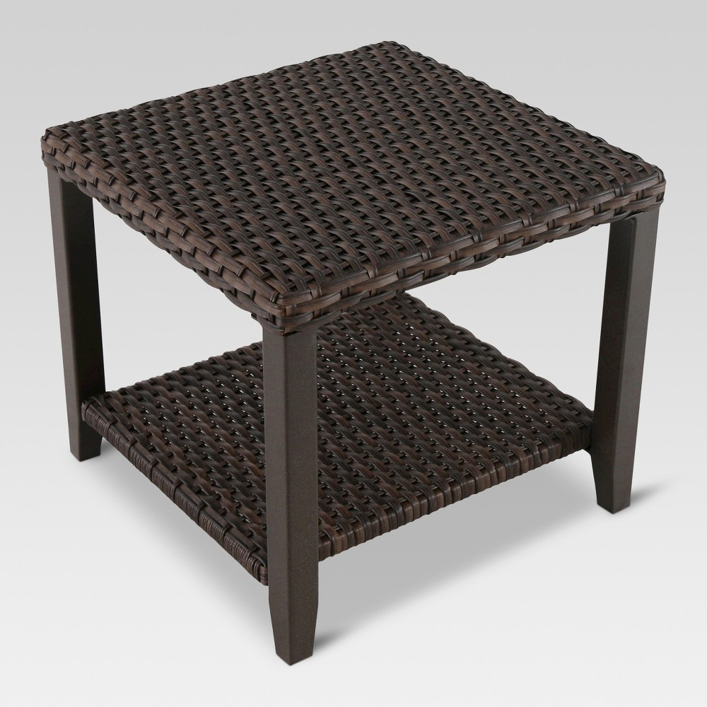 Halsted Wicker Square Patio Side Table Threshold 8482