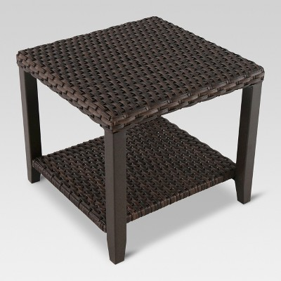 Ordinaire Halsted Wicker Square Patio Side Table   Threshold™