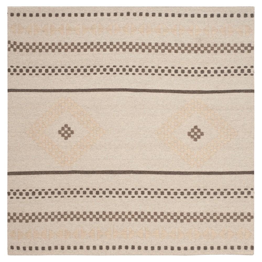 Dhurries Rug - Natural - (6'x6' Square) - Safavieh, White