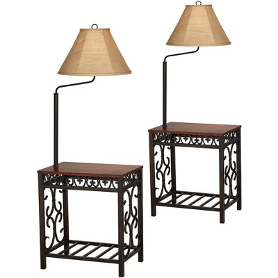 Regency Hill Farmhouse Traditional Floor Lamps Set of 2 with End Table Cherry Bronze Scrollwork Burlap Shades Decor Living Room