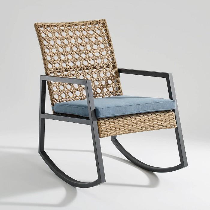 Modern Patio Rattan Rocking Chair - Saracina Home - image 1 of 5