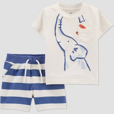 Baby Boys' Elephant Striped Top & Bottom Set - Just One You® made by carter's White/Blue 3M