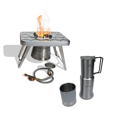 nCamp Portable Stainless Steel Outdoor Camping Stove and Gas Adapter Hose Bundle with Portable Stainless Steel Outdoor Camping Espresso Coffee Maker
