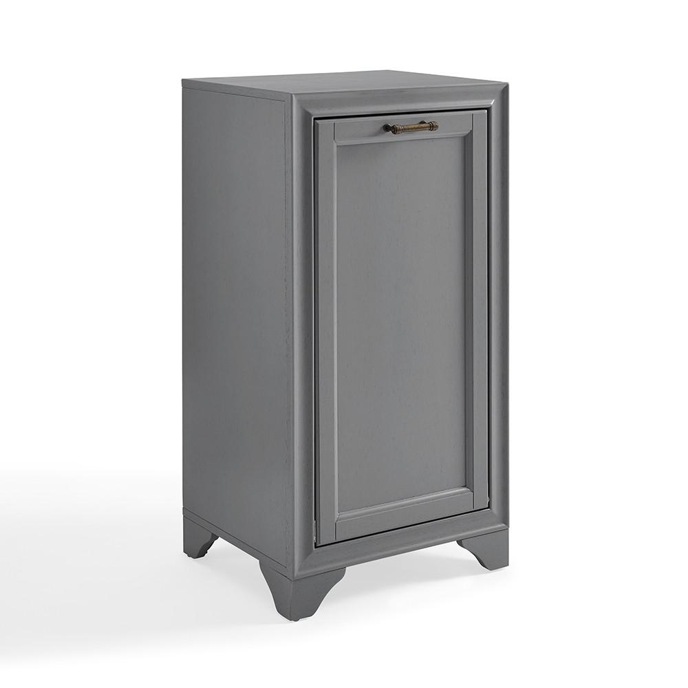 Image of Tara Linen Hamper Bath Vanity Cabinet Gray - Crosley