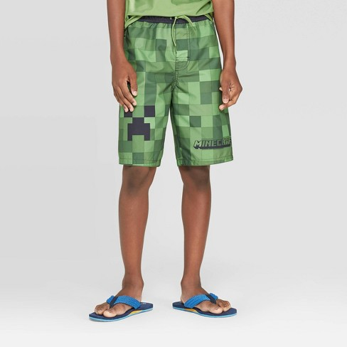 Boys' Minecraft Swim Trunks - Green - image 1 of 3