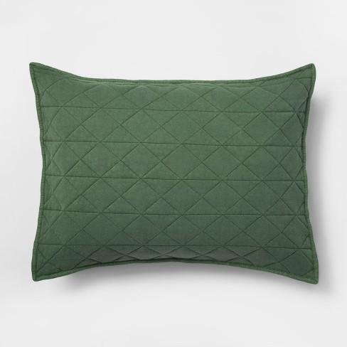 Standard Vintage Wash Jersey Pillow Sham Green - Pillowfort™ - image 1 of 4