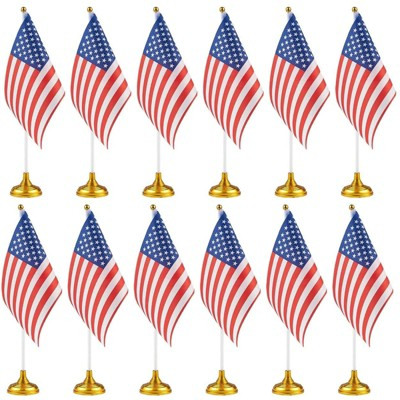 Juvale 12 Pack US American Desk Flag with Gold Stand for USA Patriotic 4th of July Indoor Desk Table Decor, 8 x 5.5 in