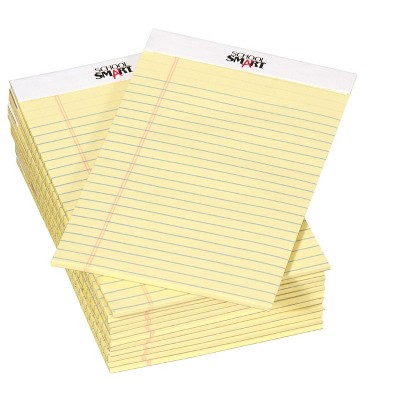 School Smart Junior Legal Pads, 5 x 8 Inches, 50 Sheets Each, Canary, pk of 12