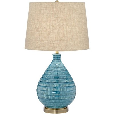 360 Lighting Mid Century Modern Table Lamp Textured Ceramic Sky Blue Glaze Linen Fabric Tapered Drum Shade for Living Room Bedroom