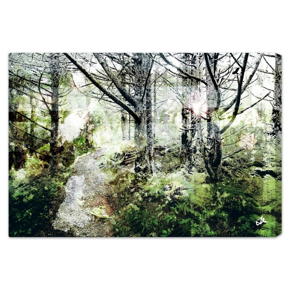 "Image of ""Oliver Gal Unframed Wall """"Walk in the Woods"""" Canvas Art (24x16), Multi-Colored"""