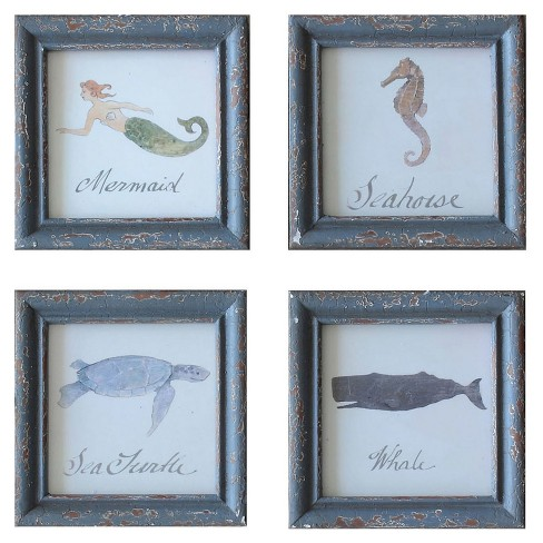 Square Wood Framed Wall Decor with Sea Life - Set of 4 - 3R Studios - image 1 of 1