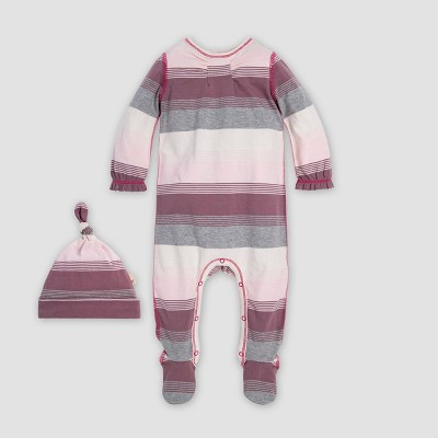 Burt's Bees Baby® Baby Girls' Shirred Yoke Organic Cotton Jumpsuit & Knot Top Hat - Purple 3-6M