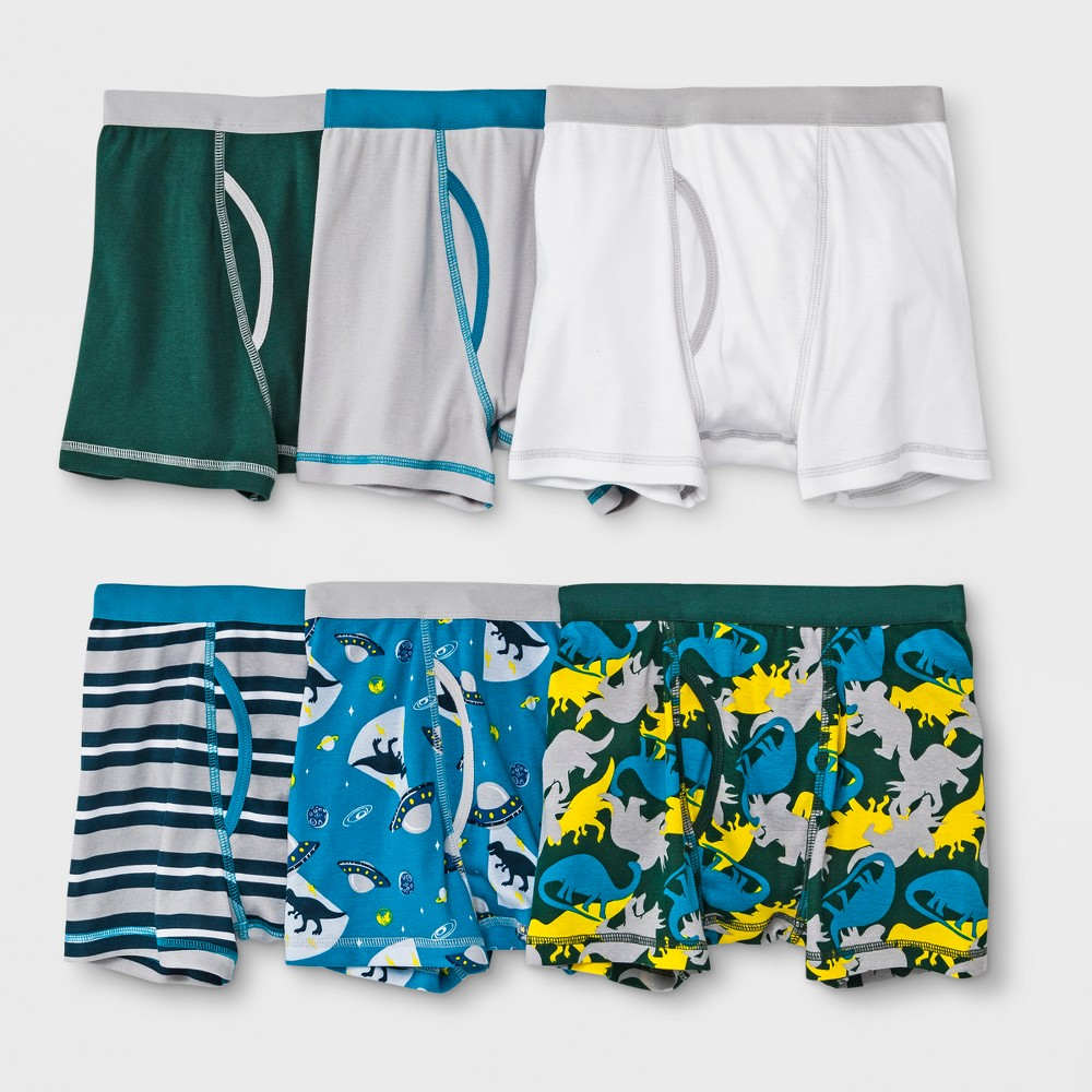 Boys' 6pk Boxer Briefs - Cat & Jack Gray/Green/Blue XS